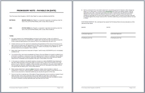 promissory note template microsoft word templates