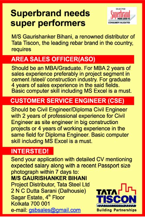 Vacancy In Tata For Mba by In Tata Tiscon Vacancies In Tata Tiscon