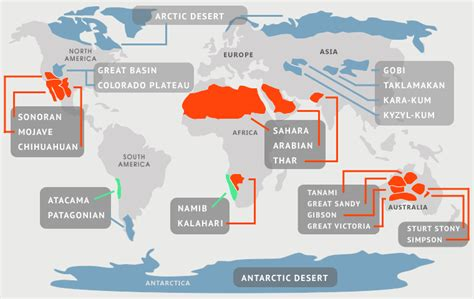 deserts map deserts of the world the 7 continents