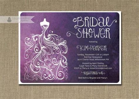 plum ombre bridal shower invitation purple white gown