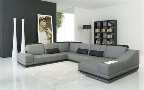 modern gray sectional divani casa 5068 modern grey and black leather sectional sofa