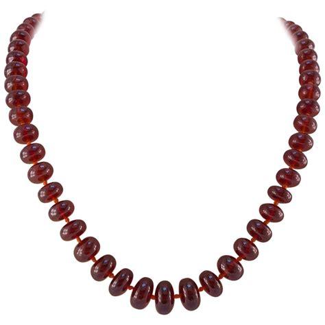large orange garnet bead necklace for sale at 1stdibs