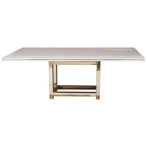 Hollywood Glam Dining Table With Brass Base And Travertine Travertine Top Dining Table