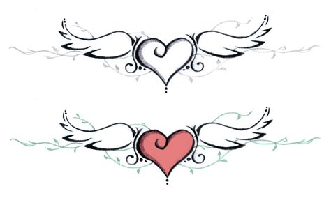 heart wings tattoo black with wings design by