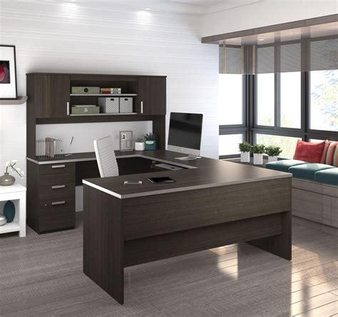 brushed nickel desk l chocolate modern u shaped office desk with brushed