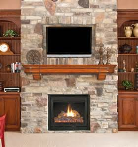 stack fireplaces between the shelves