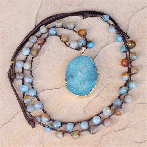 Long Crocheted necklace of Aqua Agate beads and Gold Druzy Pendan   Artisan Jewelry by Felicia