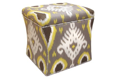 yellow and gray ottoman hepburn storage ottoman gray yellow from one kings lane