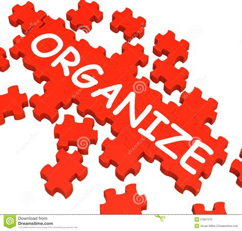 Organize Or Organise by Organize Puzzle Shows Arranging Or Organizing Stock Photo