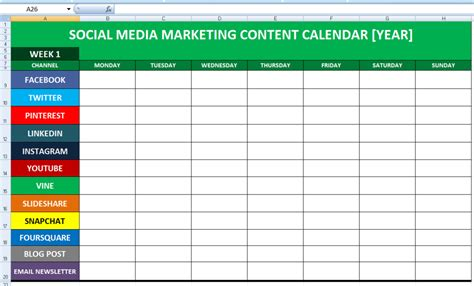 Social Media Calender Template Excel 2014 Business Calendar Social Media Marketing Social Social Media Marketing Template Free