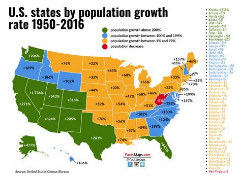 us map with cities by population u s states by population growth rate 1950 2016