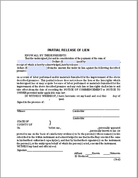 lien template partial release of lien certificate template free