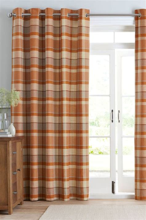Ginger Rustic Woven Check Eyelet by Next Ginger Rustic Woven Check Eyelet Curtains Shopstyle