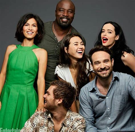 mike colter and finn jones the defenders elodie yung mike colter jessica henwick