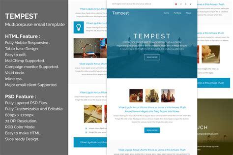 Tempest Responsive Email Template Email Templates On Creative Market Responsive Email Template