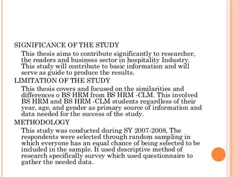 Significance Of The Study In Research Paper Exle by Method Of Research