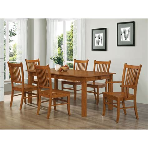 coaster meadowbrook slat  mission dining chair  warm