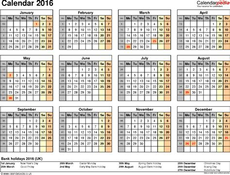 Excel Calendar 2016 Uk 16 Printable Templates Xlsx Free Excel Calendar Template