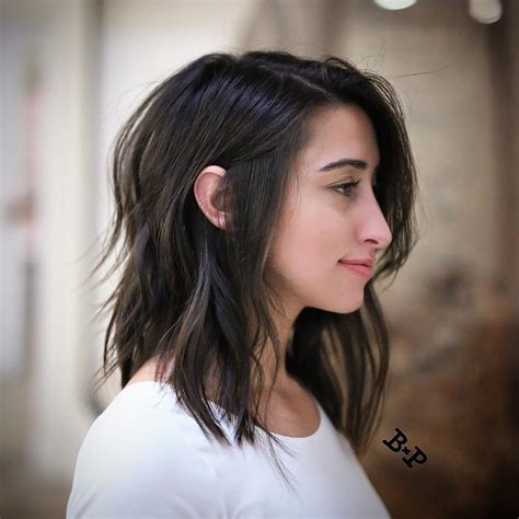 deep layers haircut wavy long bob with wispy layers for deep brown hair