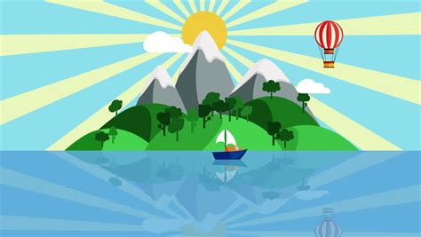 cartoon with boat in space colorful cartoon boat sailing slowly in the ocean with