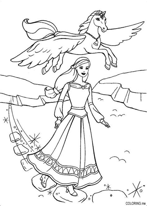 coloring page barbie magic pegasus and horse coloring me