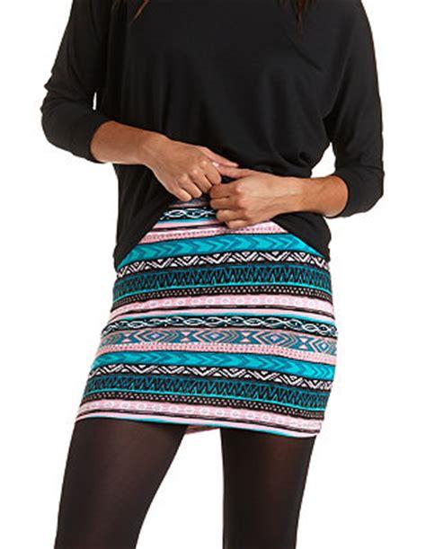 tribal patterned mini skirt tribal print bodycon mini skirt charlotte russe