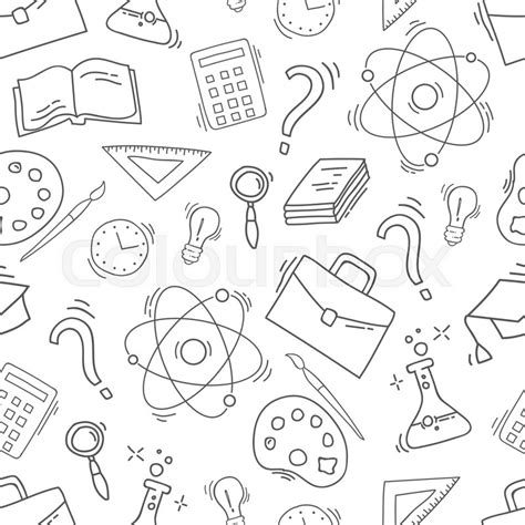 doodle new study study seamless pattern with school accessories