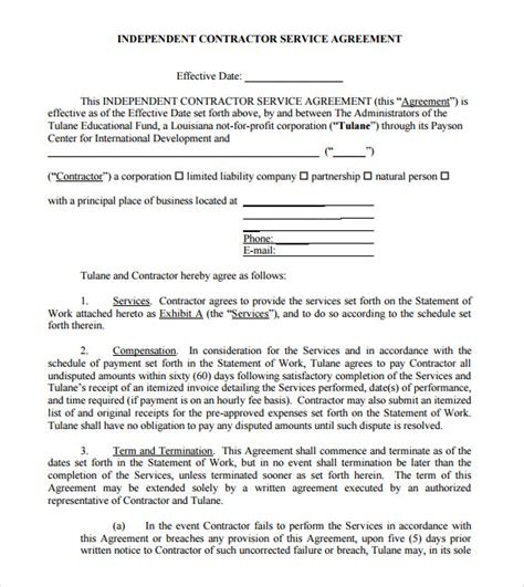 Agreement Letter For Contractor Sle Independent Contractor Agreement 12 Documents In Pdf Word
