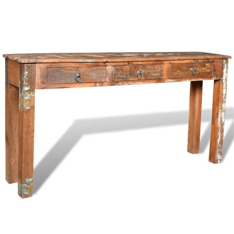 3 drawer wood end table reclaimed wood side table with 3 drawers vidaxl