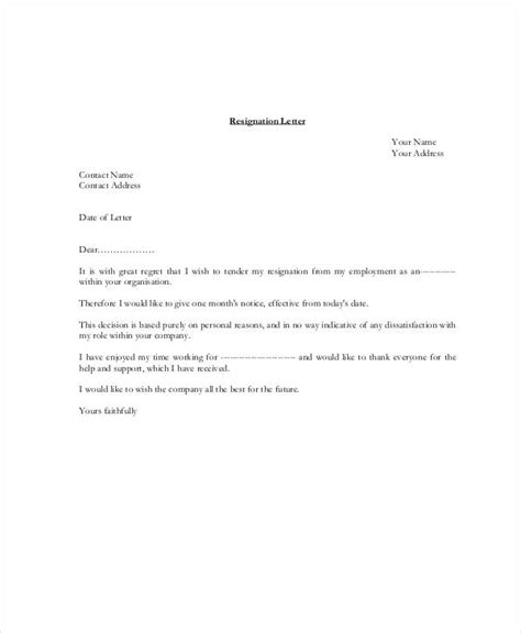 Letter Of Resignation Template Pdf by 34 Letter Templates In Pdf Free Pdf Documents Free Premium Templates