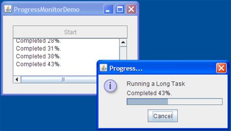 java swing progress bar how to use progress bars the java tutorials gt creating a