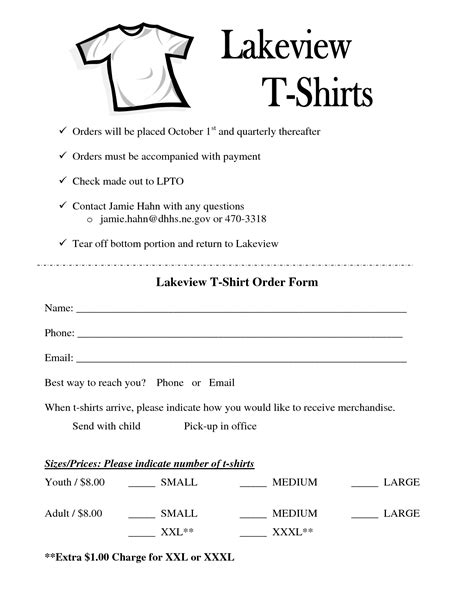 t shirt form template best photos of templates for microsoft word form free