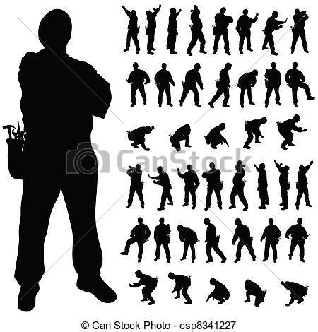 Vectors Illustration of worker black silhouette in various poses art illustration csp8341227