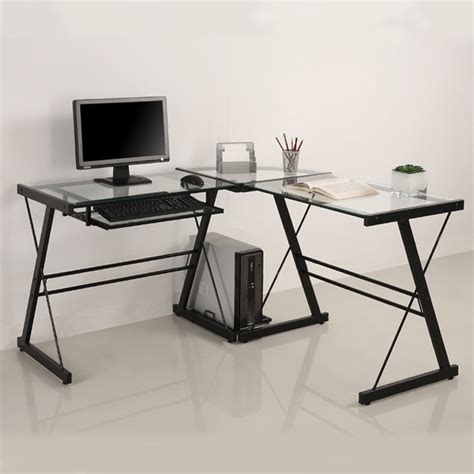 walker edison corner desk walker edison 3 imperial desk black w clear glass d51z29