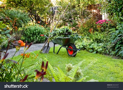 Garden Works by Evening After Work In Summer Garden With Wheelbarrow