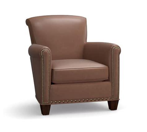irving leather armchair irving leather armchair with nailheads aspen carob