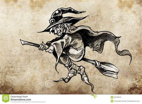 witch on a broom tattoo sketch stock illustration image
