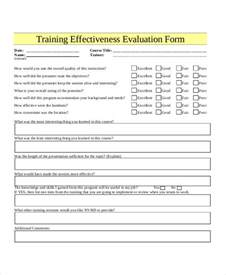 effectiveness evaluation form template evaluation form template