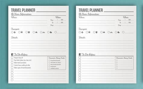 itineraries templates wedding traveling