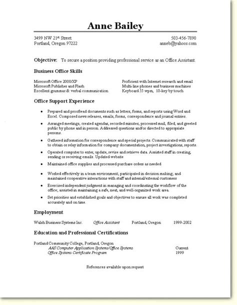Office Resume Templates by Office Assistant Resume Template