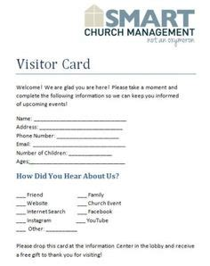 ms publisher template church visitors card this visitor card click the link below church