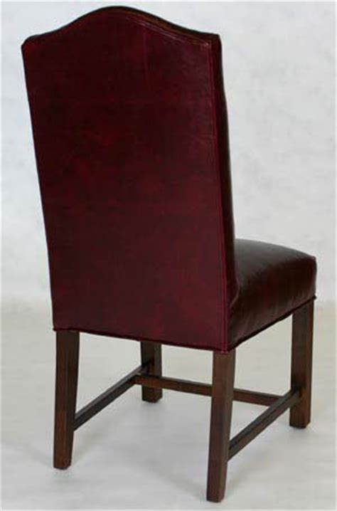 leather camel back chippendale dining chair with seat