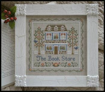 pattern for little library country cottage needleworks bookstore the cross stitch
