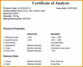 certificate of analysis template 11 certificate of analysis template resume reference