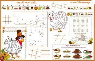 placemat thanksgiving printable activity sheet 1 stock vector 169 candywrap 69538983