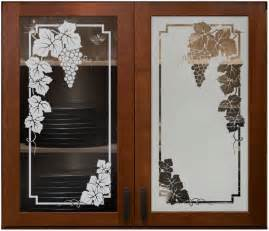 vineyard grapes cabinet glass sans soucie shown here in etched glass designs etched glass kitchen cabinet doors
