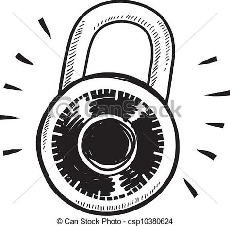 doodle combinations mechanism doodle style combination lock sketch in vector format