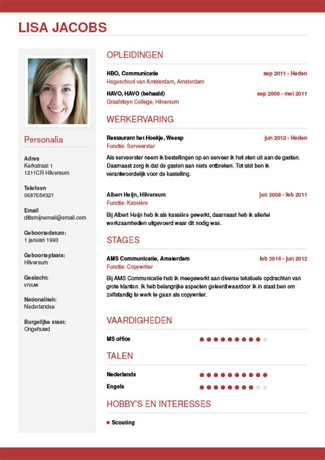 Cv Template Foto Cv Maken In 3 Stappen Je Curriculum Vitae Downloaden Cv Wizard