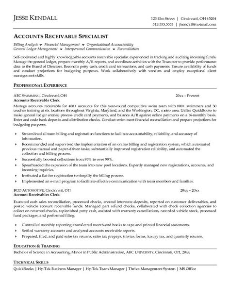 accounts receivable resume template accounts receivable clerk resume exle work it