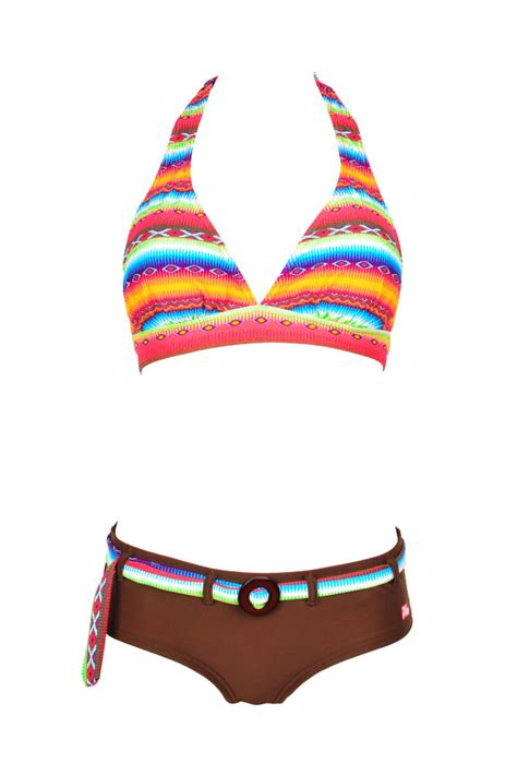 maillot de bain femme 2 pi 232 ces shorty triangle multicolore